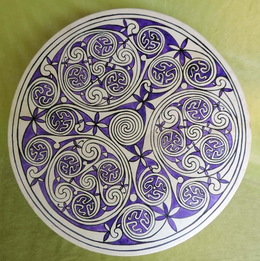 Tamburo 45 cm dipinto a mano con Triskell