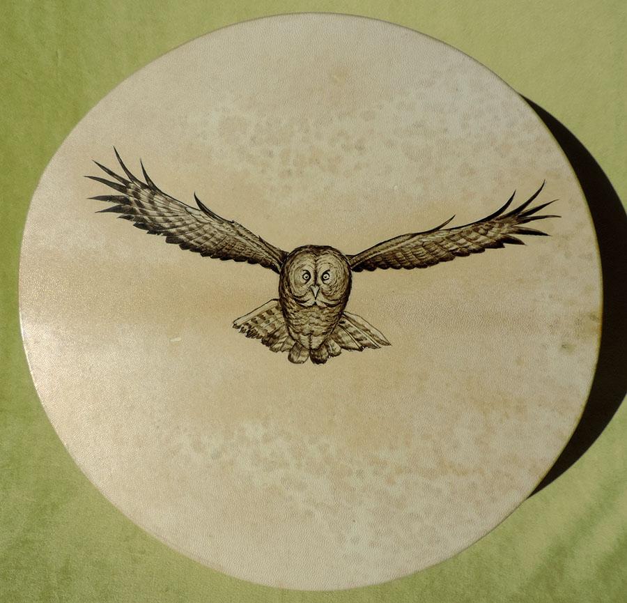 Tamburo 45 cm, dipinto a mano con Gufo della Virginia