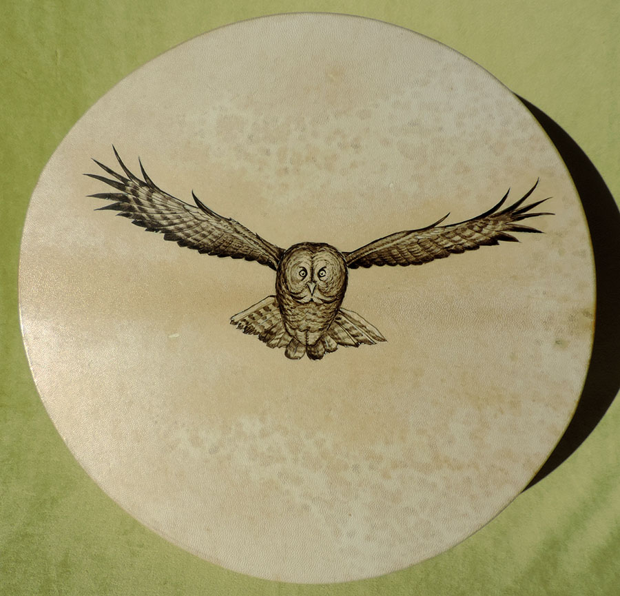 45 cm drum hand-painted with owl