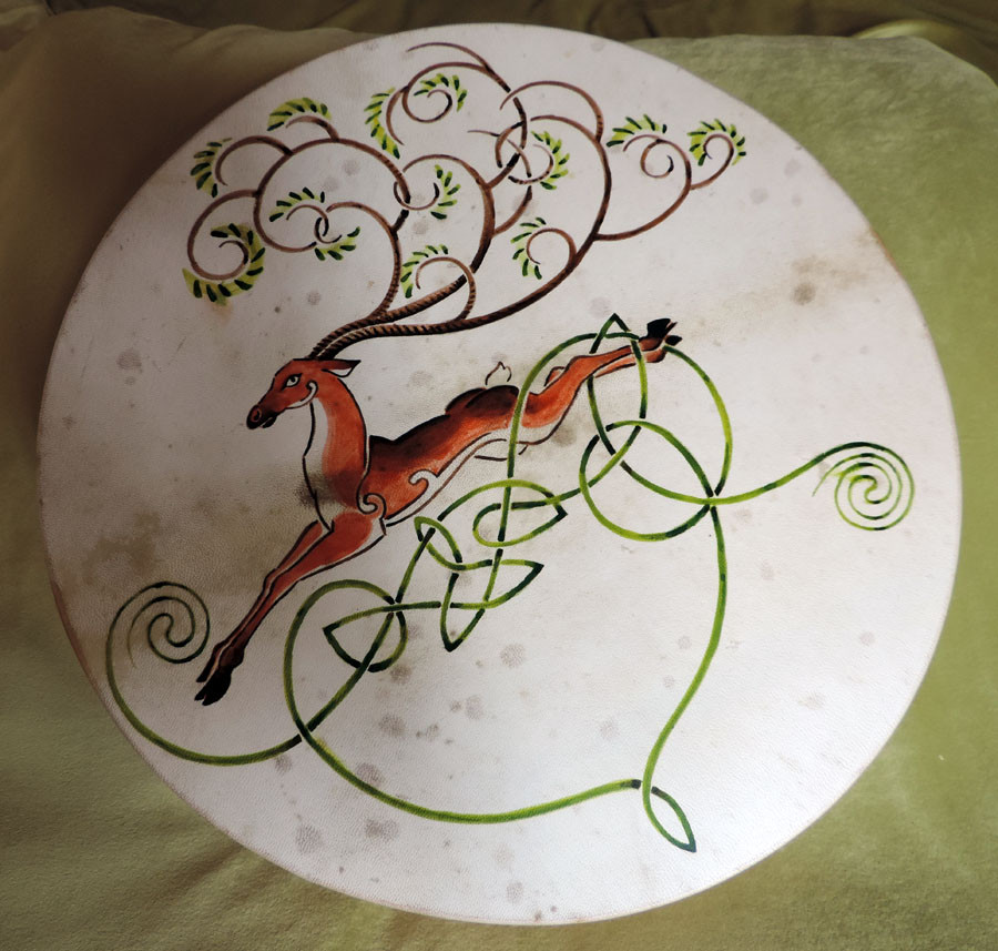 45 cm drum hand-painted with deer