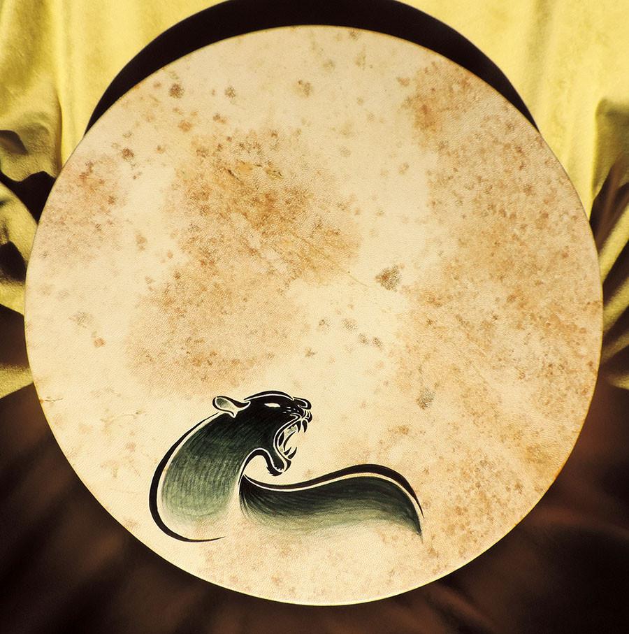 Tamburo 40 cm con pantera stilizzata dipinta a mano