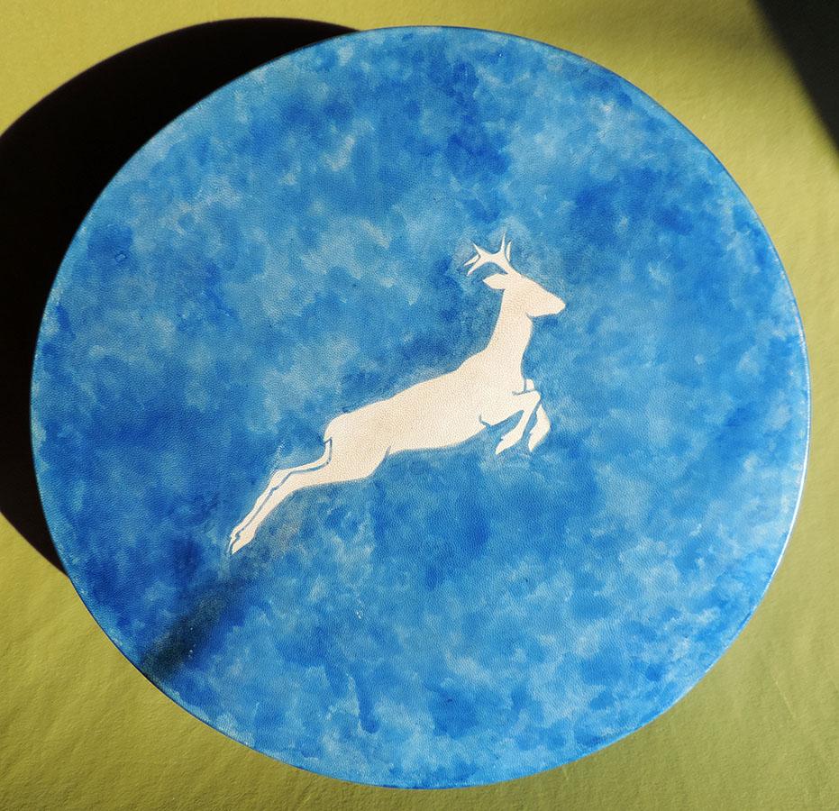 45 cm drum hand-painted with roe deer