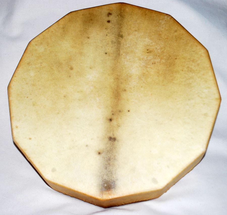 Tamburo dodecagonale 45 cm circa di diametro con cornice in legno di abete stagionato 12 anni