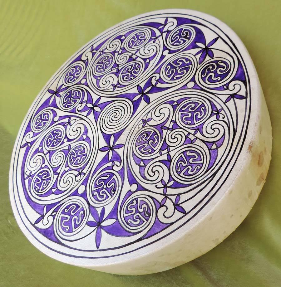 45 cm drum hand-painted with triskell