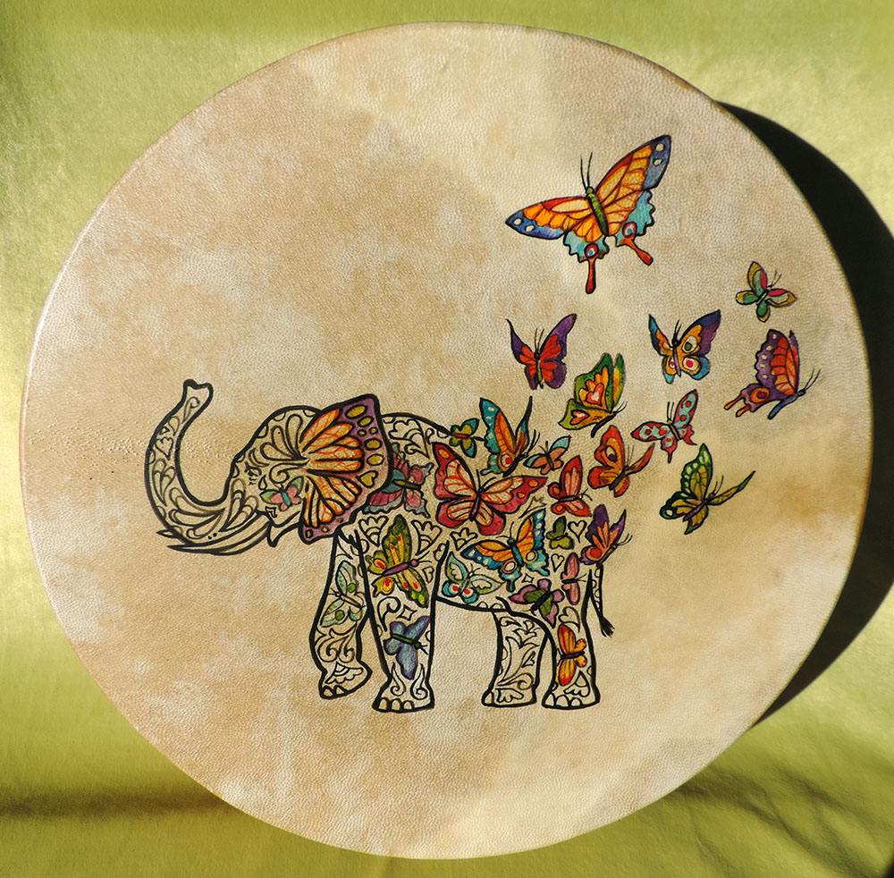 40 cm drum hand-painted with elephant and butterflies