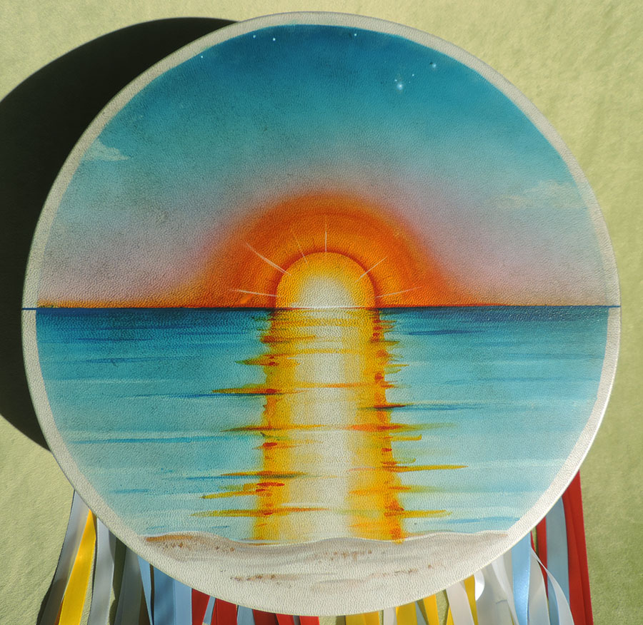 40 cm drum hand-painted with sunset, decorated with ribbons