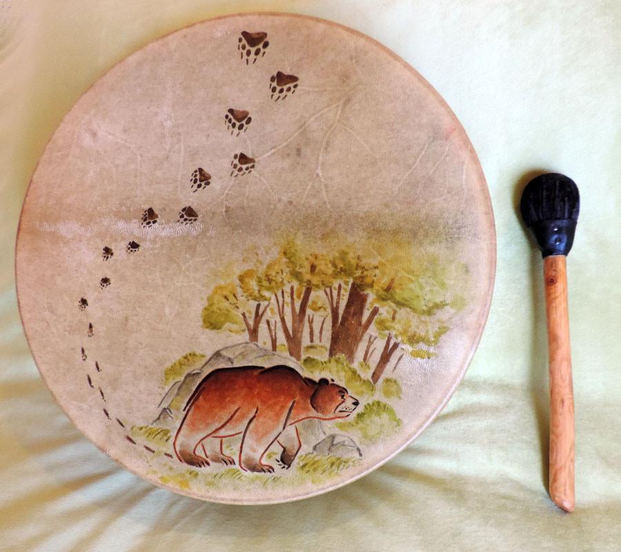 Tamburo dipinto a mano con Orso, (40 cm)