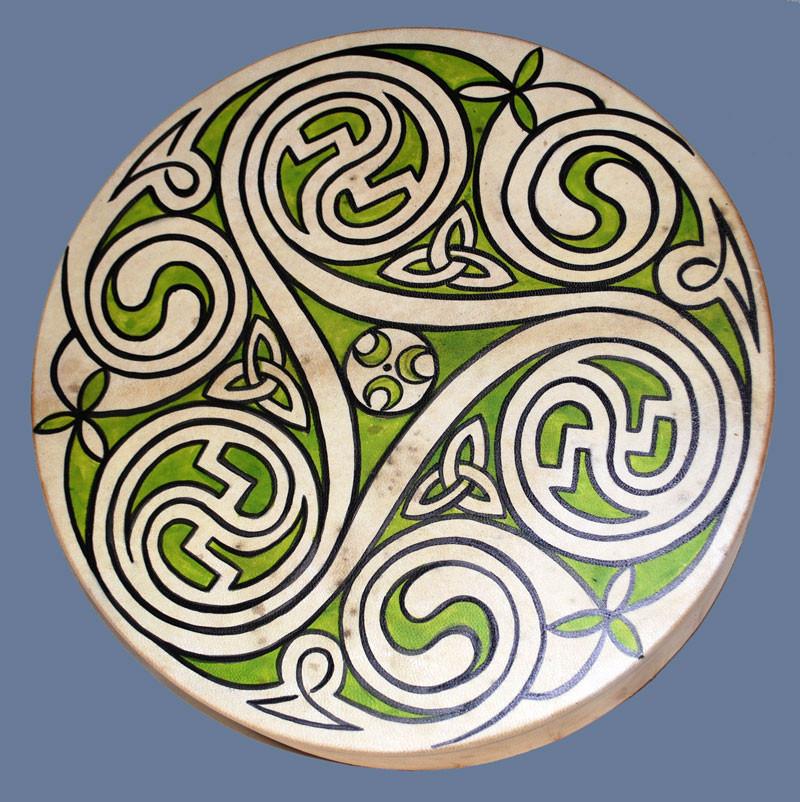 Tamburo 40 cm di diametro dipinto a mano con Triskell