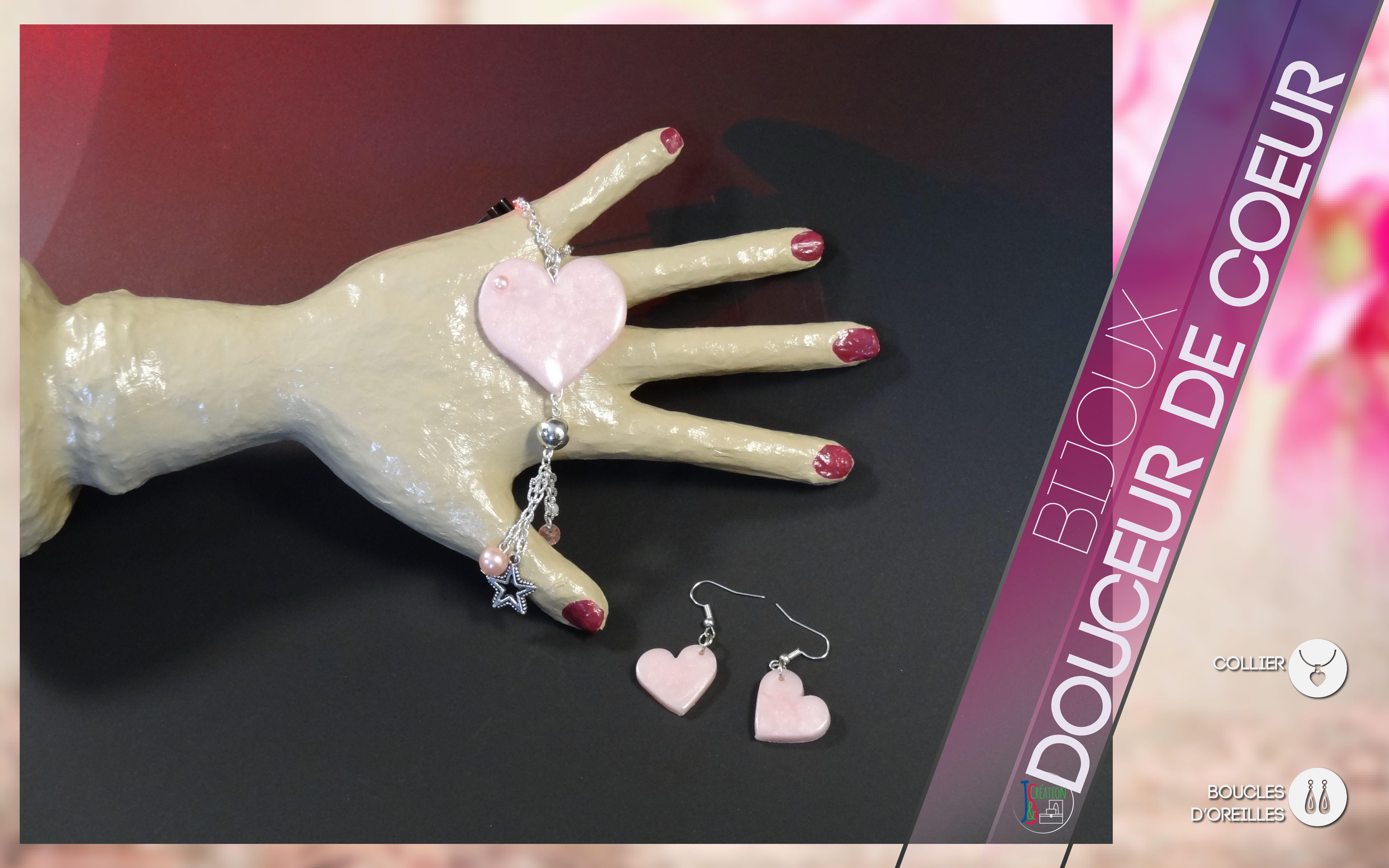 Collier & Boucles d'oreilles Collier et Boucles d'oreilles en forme de cœur de couleur rose, douce et sucrée. Bijoux vendu à l'unité : 3,50€
