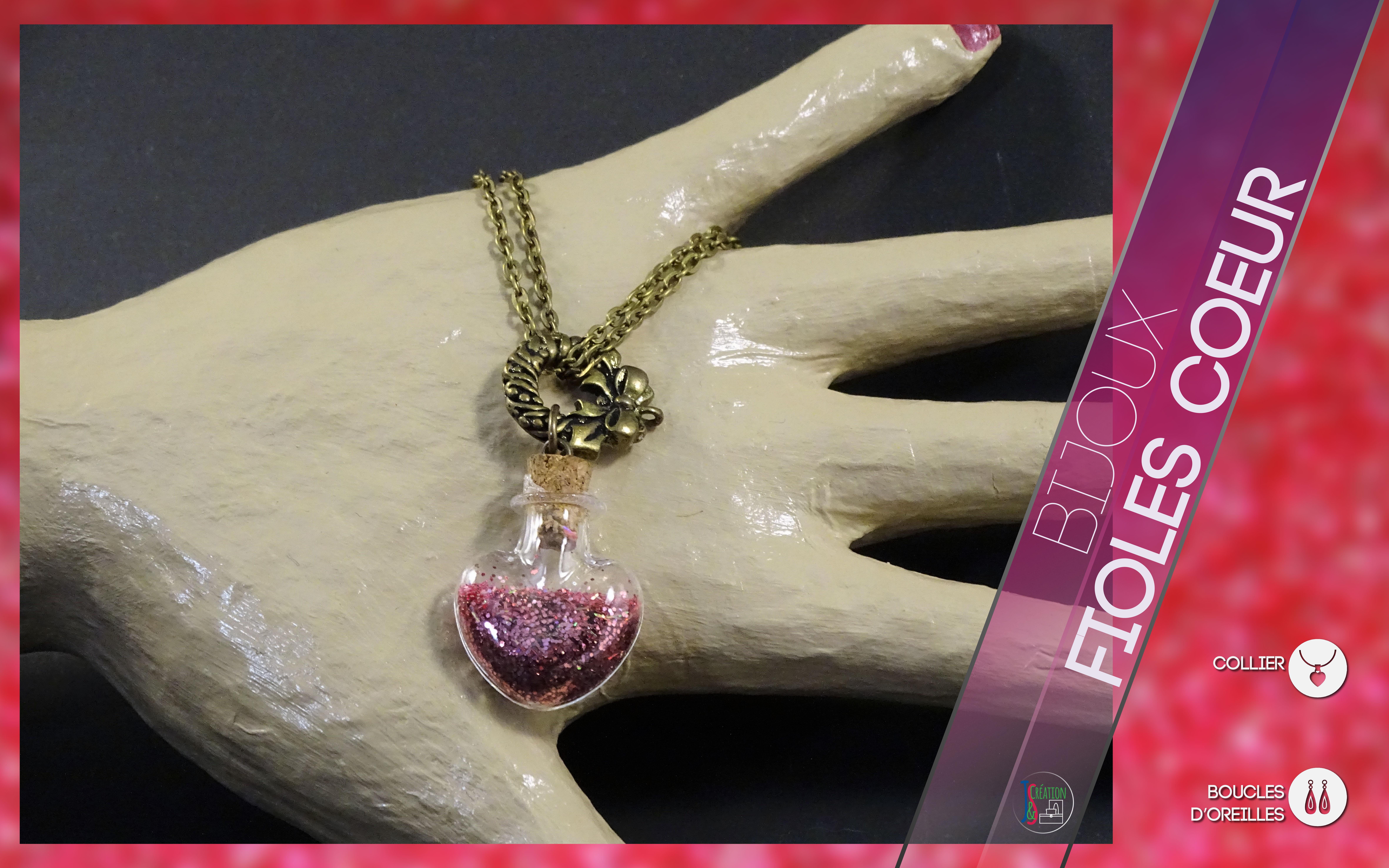 Fioles cœur Collier & Boucles d'oreilles Fioles en forme de cœur en verre rempli de toutes sorte de paillettes, cannes, ... et autres décoration de toutes les couleurs. Faites votre bijoux lors de votre commande. Bijoux vendu à l'unité : 3,50€
