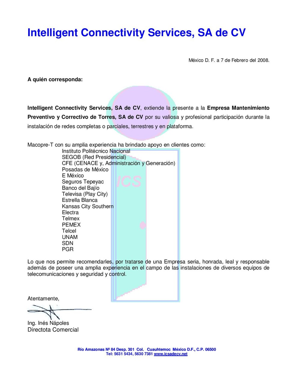 "Carta de Participación ""INTELLIGENT CONNECTIVITY SERVICES S.A. DE C.V."" ""MACOPRE-T"""