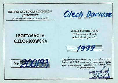 Legitymacja członkowska  (wł.Dariusz Olech)