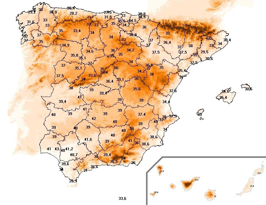 Temperatura umbral máxima para la definición de ola de calor. Ministerio de Sanidad