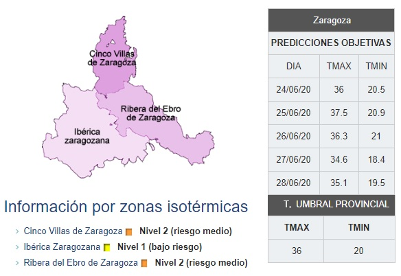 Detalle de la provincia de Zaragoza dividida en tres Zonas Isotérmicas
