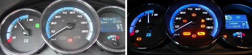 Izquierda coche arrancado, GO en verde. Derecha coche apagado, STOP en rojo