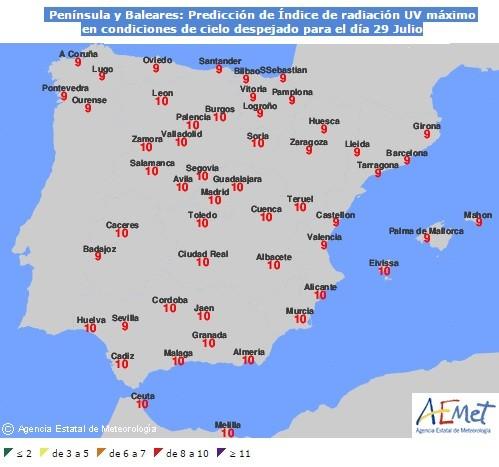 Ejemplo de un mapa con los índices de radiación ultravioleta. AEMET