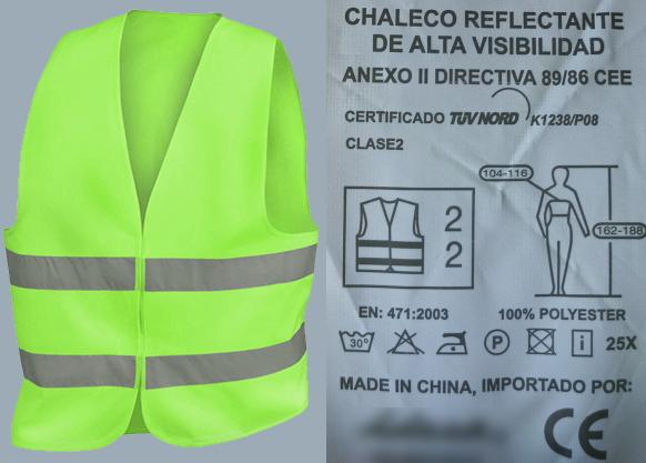 Chaleco de alta visibilidad y ejemplo de etiquetado