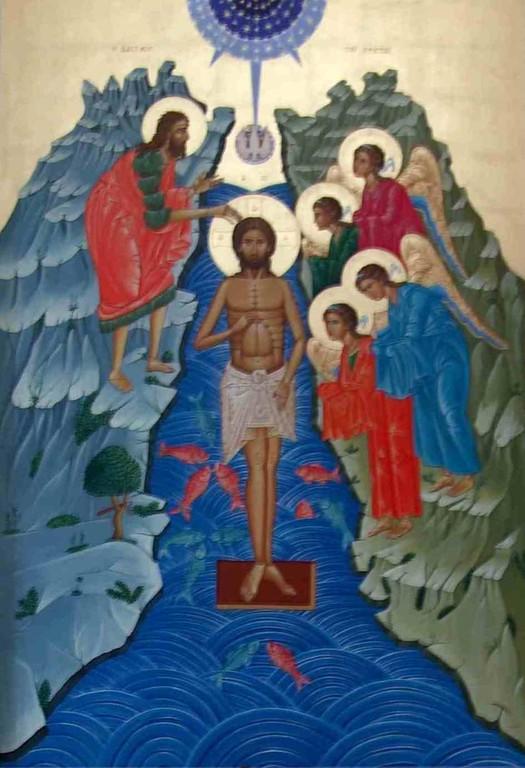 Interno chiesa uniata Madre-di-Dio di Kostantinopoli -  Icona del battesimo - 5 Maj 2009