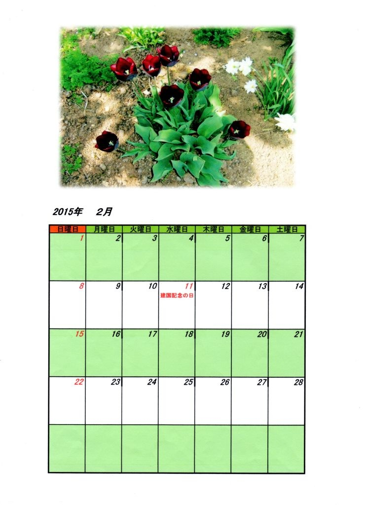2015年2月カレンダー