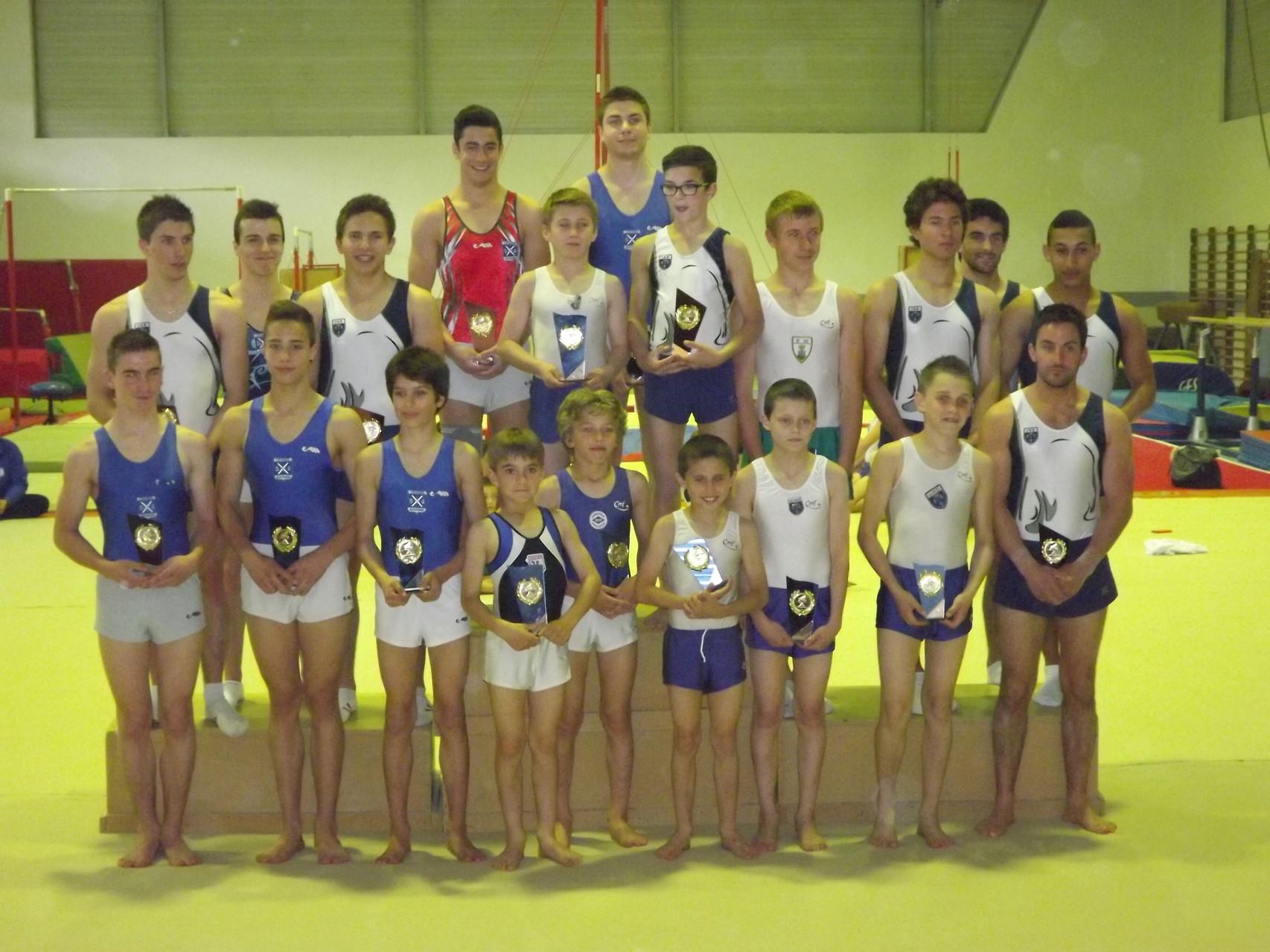 Groupe des gymnastes récompensés