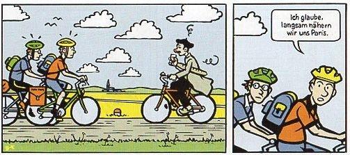 "(c) Christophe Badoux: ""Per Fahrrad durch die Galaxis"", Edition Moderne; Stadtbücherei Leonberg: ""Cartoon Bado"""