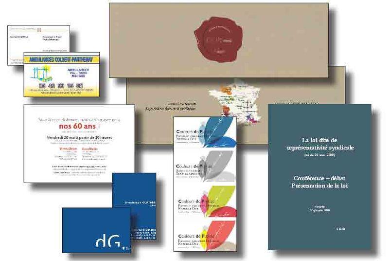 Catalogue, étiquettes, invitation, brochure politique et cartes professionnelles