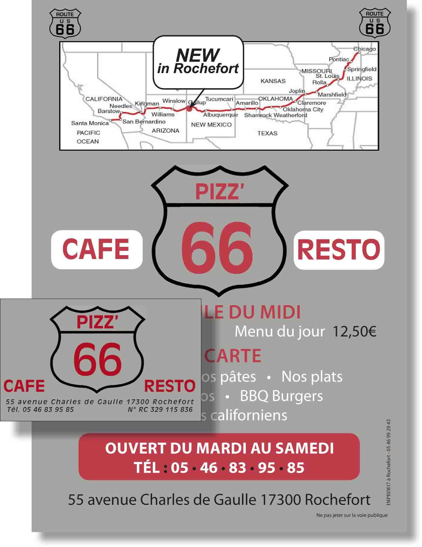 Cartes et flyers pour une pizzeria  (création Imprim17)