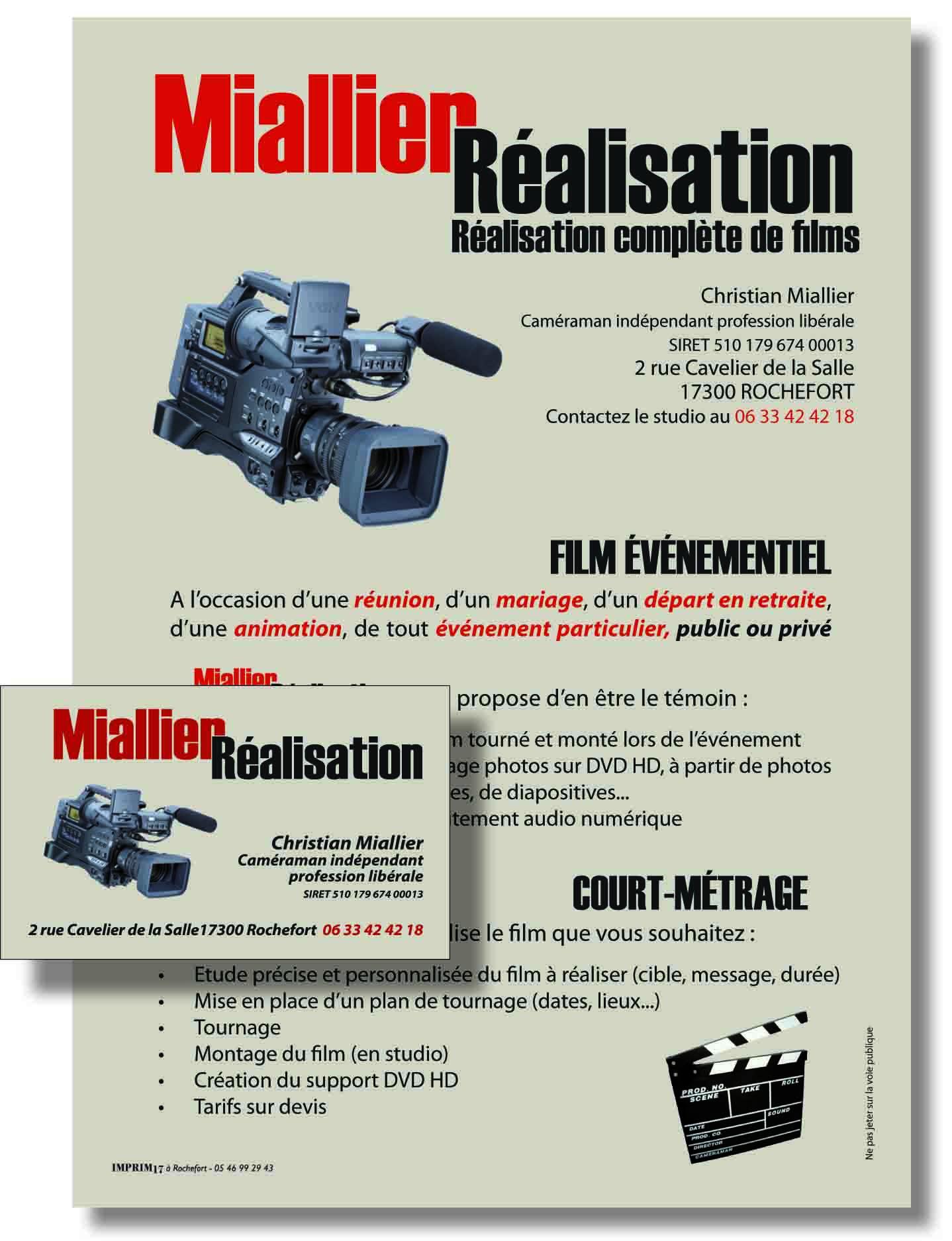 Cartes et flyers pour un photographe/vidéaste
