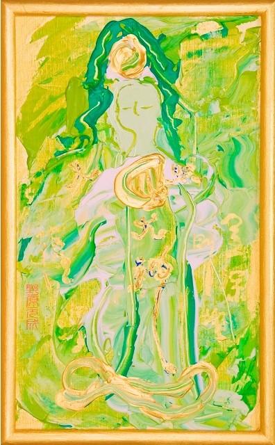 女神様22 Goddess 22, 2009 48.2 x 30.1 cm Acrylic on canvas -SOLD-