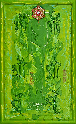 サラスワティー ~女神の宝石9~(女神様80) Saraswati -Goddess Jewel 9- (Goddess 80), 2011 48.2 x 30.1 cm Acrylic on canvas