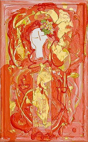 ラクシュミ ~女神の宝石5~(女神様76) Lakshmi -Goddess Jewel 5- (Goddess 76), 2011 48.2 x 30.1 cm Acrylic on canvas