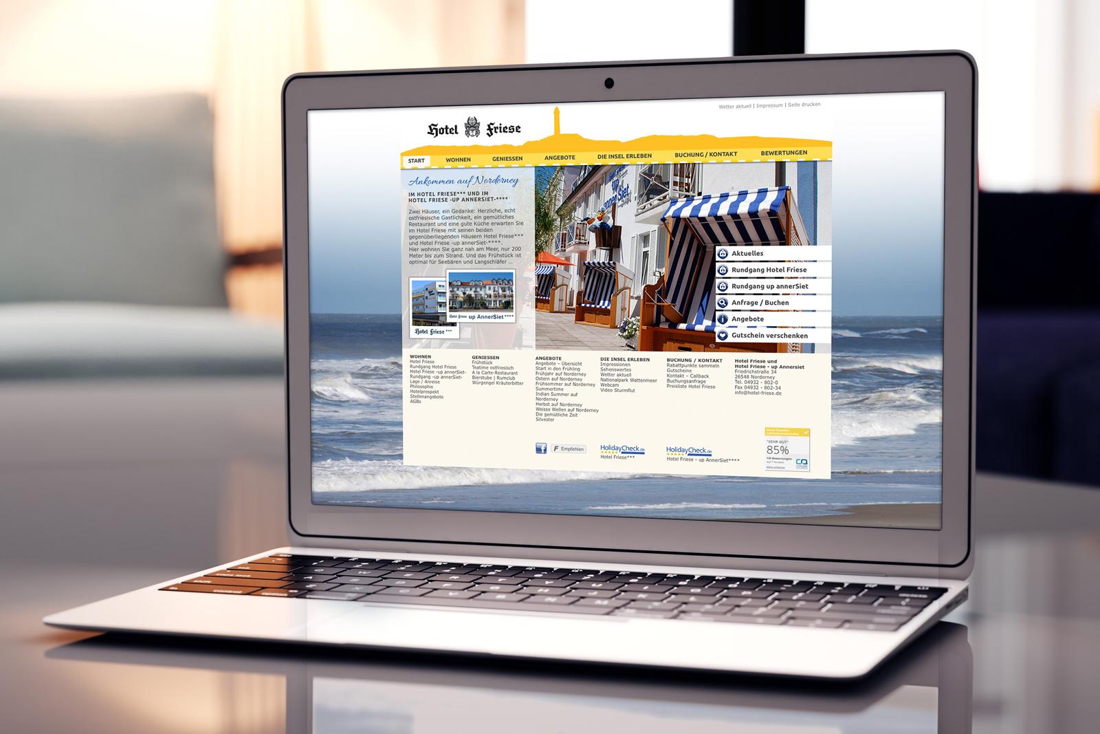 Hotel Friese, Norderney – Redesign der Webseite und Pflege in Wordpress