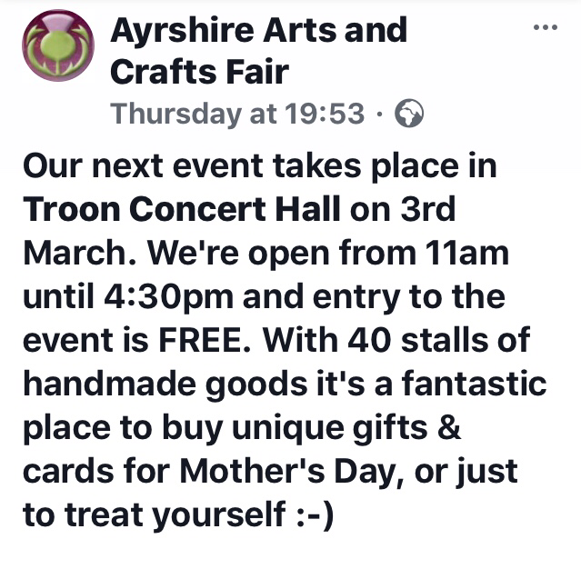 AyrBrushed will be attending the Troon Craft Fair on Sat 3rd March 2018