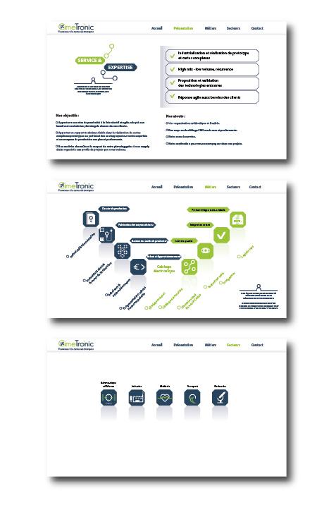 Mise en page et création de pictogrammes pour le site internet CimeTronic