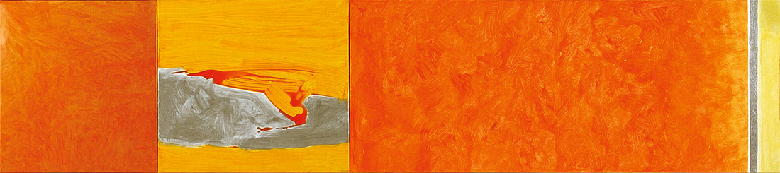 """Orange-Lounge"", 50 x 245 cm, Mischtechnik auf Leinen, 2003"