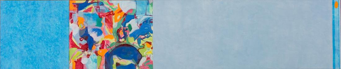 """""""Blue-Lounge"""", 50 x 235 cm, Eitempera und Öl auf Leinen, 2004"""