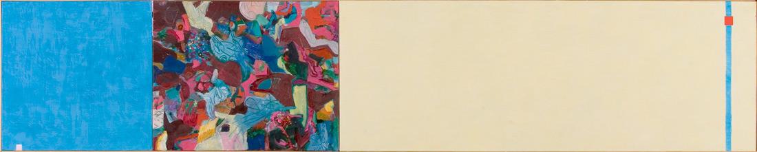 """""""Mangan-Lounge"""", 40 x 195 cm, Eitemera und Öl auf Leinen, 2003"""