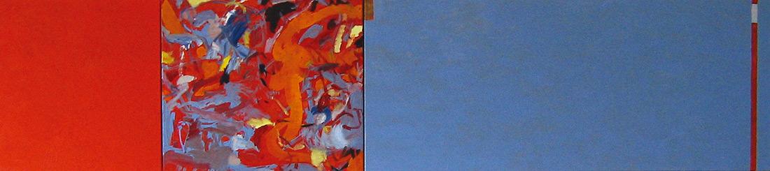 """""""Zinnober-Lounge"""", 50 x 245 cm, Wachs und Eitempera auf Leinen, 2004"""