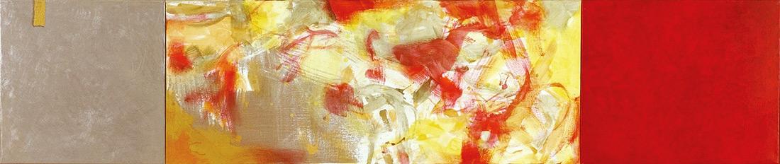 """""""Cherry-Lounge"""", 50 x 235 cm, Eitempera, Öl und Zinn auf Leinen, 2003"""