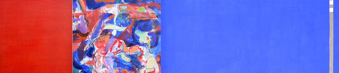 """Ultramarinblau-Lounge"", 50 x 245 cm, Mischtechnik, 2016"