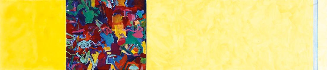 """""""Lemon-Lounge"""", 50 x 245 cm, Öl auf Leinen, 2003"""