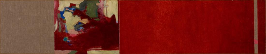 """""""Red-Lounge"""", 50 x 245 cm, Öl auf Leinen, 2003"""