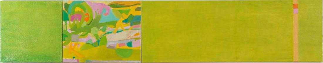 """""""Lightgreen-Lounge"""", 40 x 210 cm, Öl auf Leinen, 3-teilig, 2006"""