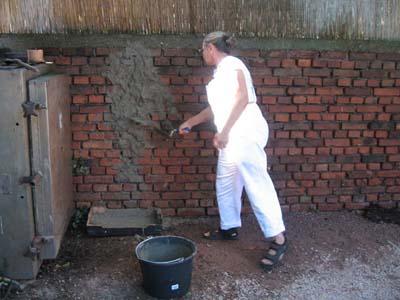 Erster Spritzwurf auf nasser Wand, 2007
