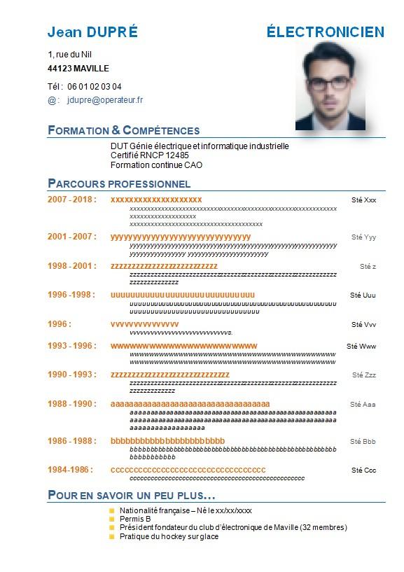 CV d'électronicien