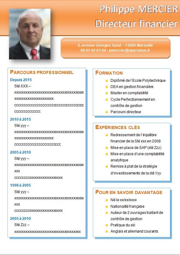 CV de cadre dirigeant