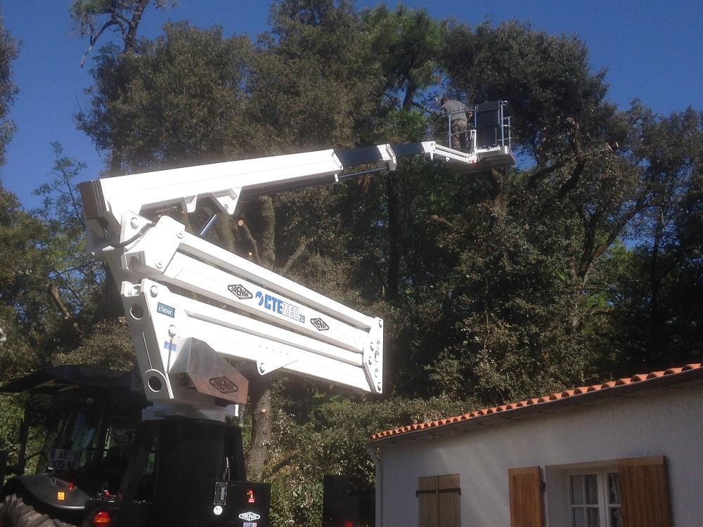 Elagage au dessus d'une maison avec nacelle