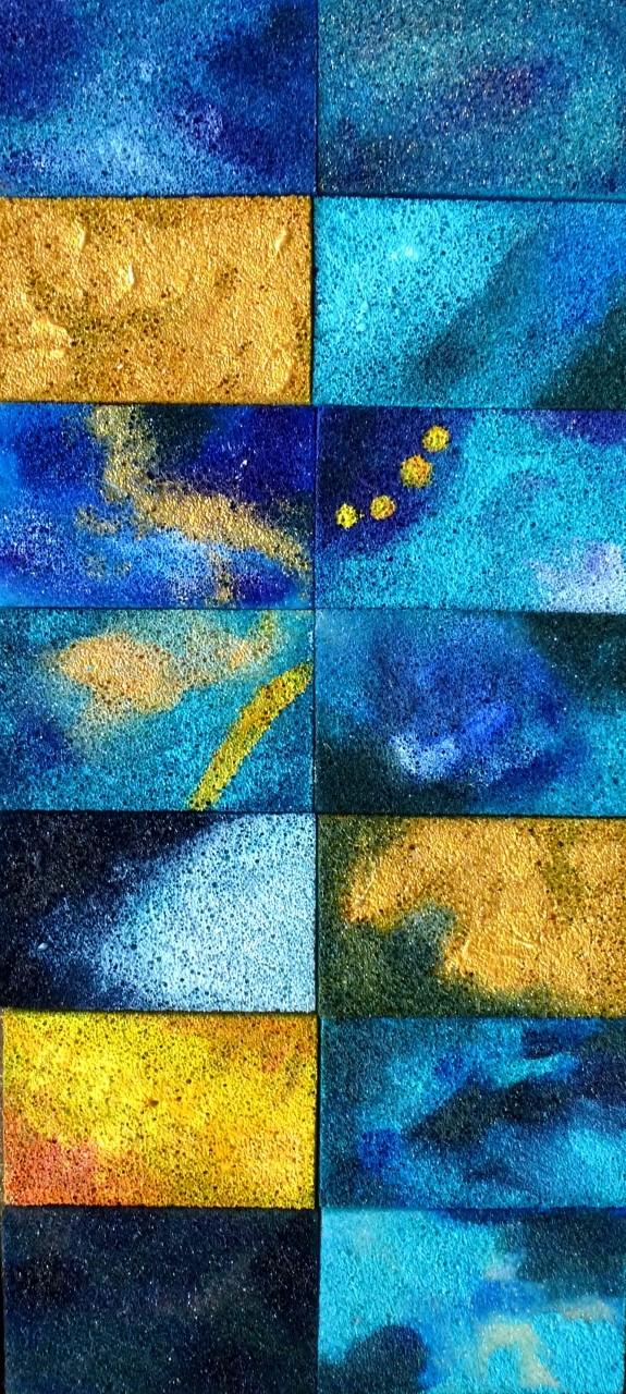 Acryl auf Sponges / Casanirahmen, 40x20 cm, verkauft