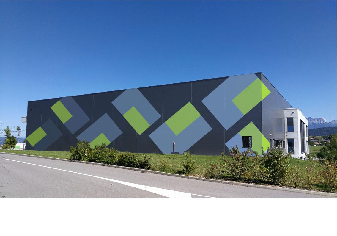 Peinture murale - Bâtiment industriel Zone Altaïs Haute-Savoie - 40x13 m