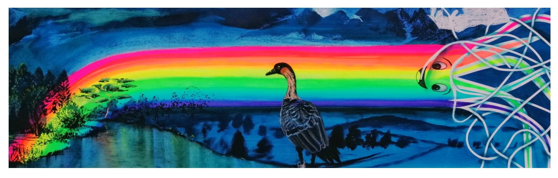Lufttänzer, 2020, Acryl, Pastelkreide, Baumwollpapier, 130 x 40 cm